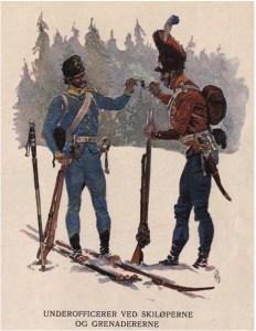 Underoffiserer i Hæren fra perioden 1807–1814. Tegna av Andreas Bloch