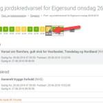 Varsom - Flom- og jordskredvarsel for Eigersund onsdag 26.09.2018 - Klikk for regnvarsel