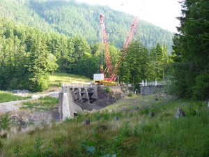 Dam removal site on the Elwha River.