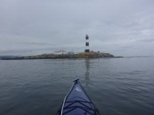 The end of the Strait of Juan de Fuca crossing: a desolate rock off Vancouver Island