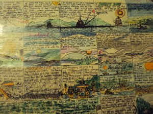 One of hundreds of calendar pages, with drawings and scribbles of life in the wilderness.
