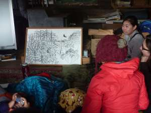 Earlham College student Liyuan Gao shares her reflection on the meaning of wilderness: a detailed white-board drawing.