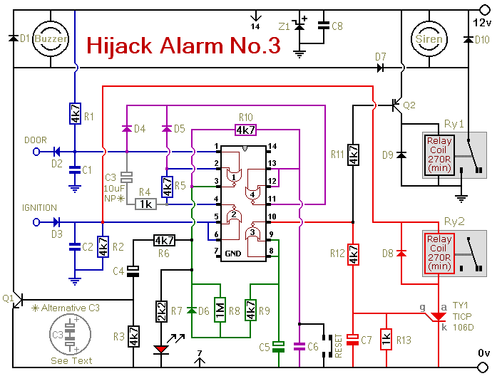 Vehicle Anti-Hijack Alarm No3 Circuit Diagram And Instructions