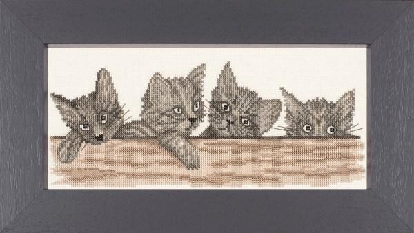 Lanarte Borduurpakket - Katjes / Poesjes op het hek