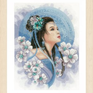 Lanarte Borduurpakket - Asian lady in blue