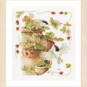 Lanarte Borduurpakket - Aardbeien en vogels