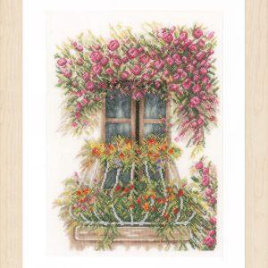 Lanarte Borduurpakket - balkon met bloemen