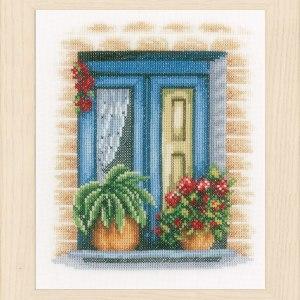 Lanarte Borduurpakket - Blauw raam