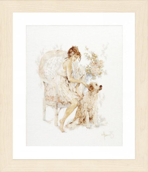 Lanarte Borduurpakket - Meisje op stoel met hond
