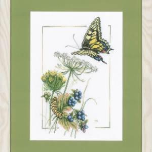 Lanarte Borduurpakket - Vlinder met blauwe bessen