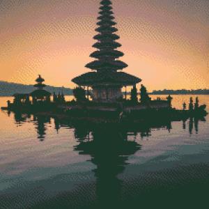MyHobby borduurpakket - pagode bij zonsondergang
