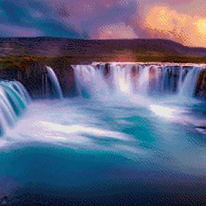 MyHobby Borduurpakket - watervallen bij schemering