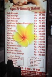 Цени на масажите на остров Бали