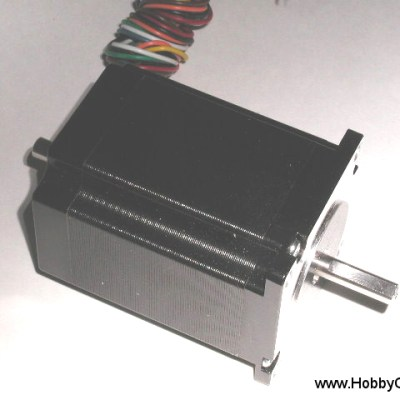 HobbyCNC 23-205-DS8 285 oz-in bipolar rating, 205 oz-in unipolar rating. 3v, 3A, 200 S/R, 2.2mH, Size #23, Dual Shaft, 8 wire