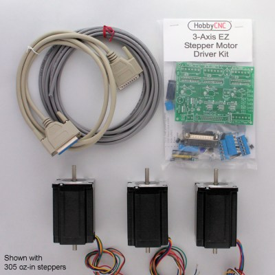 HobbyCNC PRO 3 Axis Combo Kit - kit, wires, steppers. Drive 3 stepper motors up to 3A each.