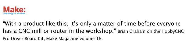 HobbyCNC Make Magazine Quote