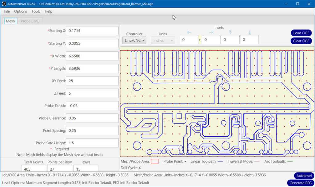 KiCAD autolevelling for PC Board Isolation Routing. HobbyCNC