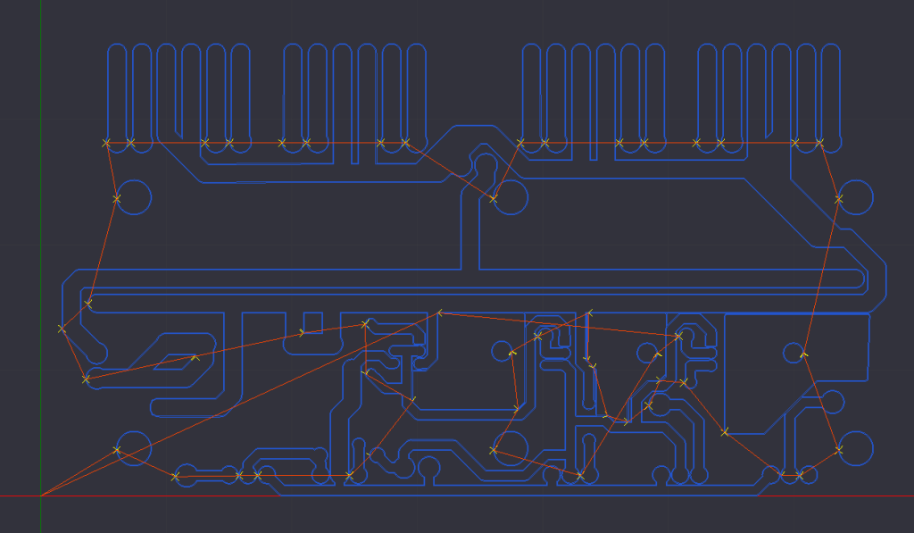 KiCAD view in CamBam for PC Board Isolation Routing. HobbyCNC