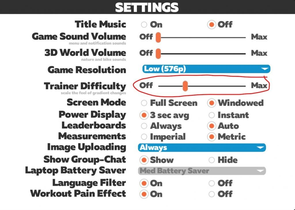 Settings in Zwift - trainer difficulty