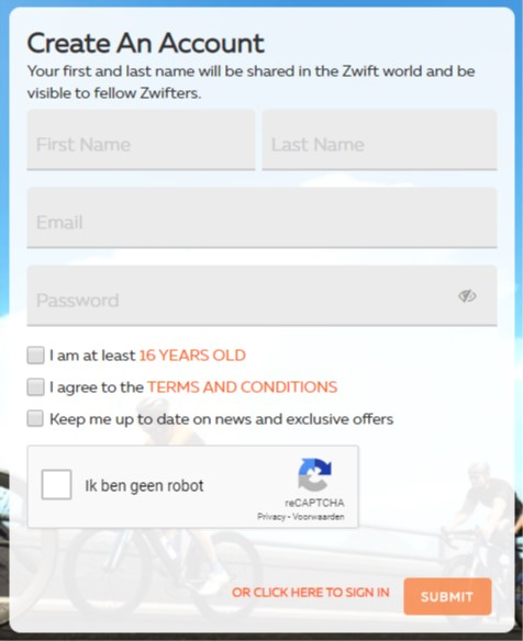 aanmelden voor een nieuw account bij Zwift