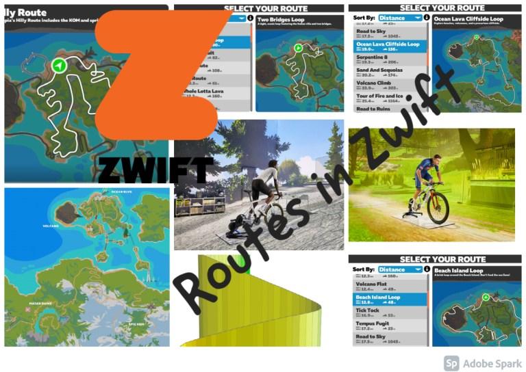 overzicht routes in Zwift