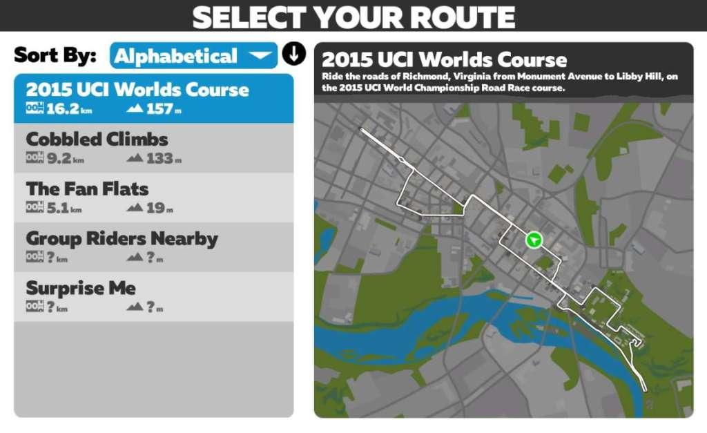 Route van UCI WK 2015 in Richmond - Zwift
