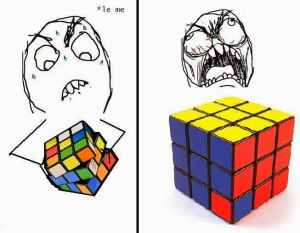 image of an unsolvable rubiks cube