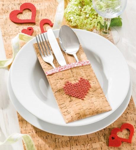 Kork-Bestecktasche mit Herz