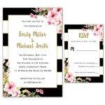 100-Wedding-Invitations-Gold-Black-Pink-Floral-Design-Envelopes-Response-Cards-Set-0