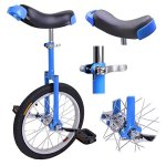 16-inch-Wheel-Aluminum-Rim-Steel-Fork-Frame-Unicycle-Blue-w-Comfortable-Saddle-Seat-Rubber-Mountain-Tire-for-Balance-Exercise-Training-Road-Street-Bike-Cycling-0-0