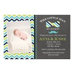 30-Invitations-Little-Man-Sip-And-See-Baby-Shower-Blue-Green-Personalized-Cards-30-White-Envelopes-0