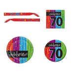 70th-Birthday-Party-Supply-Kit-for-16-guests-Bundle-Includes-Dinner-Plates-Dessert-Plates-Napkins-and-Birthday-Sash-0