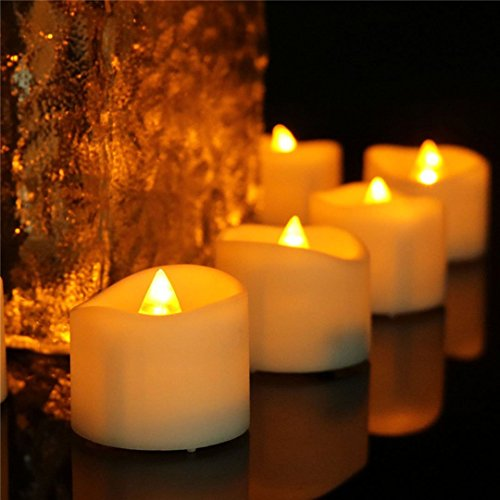 Amber Wavy Open Yellow Flicker Flameless Led Mini Tea Light With timer 6 Hrs on 18 Hrs off 200