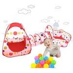 Awakingdemi-Pool-Tube-Teepee-3pc-Pop-up-Play-Tent-ChildrenTunnel-Kids-Play-House-0-0