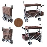 BROWN-FREE-ICE-COOLER-PUSH-AND-PULL-HANDLE-FOLDING-BABY-STROLLER-WAGON-OUTDOOR-SPORT-COLLAPSIBLE-KIDS-TROLLEY-W-CANOPY-GARDEN-UTILITY-SHOPPING-TRAVEL-BEACH-CART-EASY-SETUP-NO-TOOL-NECESSARY-0