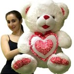 Big-Plump-and-Soft-Teddy-Bear-30-Inches-White-Color-Holding-Red-and-White-Floral-Design-Plush-Heart-Pillow-0