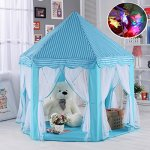 Blue-Hexagon-Play-Castle-Indoor-Kids-Play-Tent-Outdoor-Boys-Girls-Playhouse-with-23ft-LED-Star-String-Lights55Diameter53-Height-0
