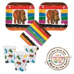 Brown-Bear-Party-supplies-16-guests-cake-plates-napkins-cups-labels-0