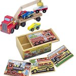 Bundle-Includes-2-Items-Melissa-Doug-Magnetic-Car-Loader-Wooden-Toy-Set-With-4-Cars-and-1-Semi-Trailer-Truck-and-Melissa-Doug-Vehicles-4-in1-Wooden-Jigsaw-Puzzles-in-a-Storage-Box-48-pcs-0