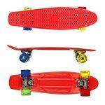 Complete-Skateboards-RockBirds-22-Plastic-Cruiser-Skateboard-High-Speed-for-Kids-Boys-Youths-Beginners-Red-0