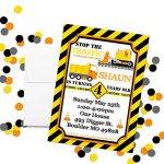 Construction-Digger-Dump-Truck-Custom-Personalized-Birthday-Party-Invitations-for-Boys-Twenty-5-x-7-Cards-Including-20-White-Envelopes-bt-AmandaCreation-0-0