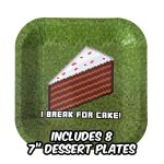 Deluxe-Tableware-Set-for-Pixel-Mine-Crafter-Themed-Party-with-HAPPY-BIRTHDAY-BANNER-Service-for-8-Party-Supplies-Plates-Cups-Cutlery-Napkins-Balloons-Table-Cloth-8-BONUS-Gifts-0-1