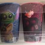 Disney-Star-Wars-Mickey-Jedi-Goofy-Vader-Yoda-as-Stitch-and-Donald-Duck-as-Darth-Maul-Lenticular-3D-Plastic-Cup-Set-of-4-NEW-0