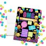 Emoji-Texting-Custom-Personalized-Birthday-Party-Invitations-Twenty-5-X-7-Cards-including-20-White-Envelopes-0-0