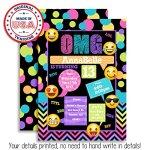 Emoji-Texting-Custom-Personalized-Birthday-Party-Invitations-Twenty-5-X-7-Cards-including-20-White-Envelopes-0-1