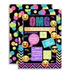 Emoji-Texting-Custom-Personalized-Birthday-Party-Invitations-Twenty-5-X-7-Cards-including-20-White-Envelopes-0