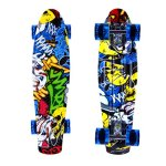 Enkeeo-22-Inch-Cruiser-Skateboard-Plastic-Banana-Board-with-Bendable-Deck-and-Smooth-PU-Casters-for-Kids-Boys-Youths-Beginners-200-Ibs-0