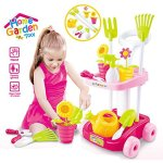 FAPAJO-Double-Decker-Garden-Cart-And-Tools-Toy-for-Kids-with-5-Different-Gardening-Tools-2-Pots-with-Flowers-Water-Pail-and-Spray-PINK-0