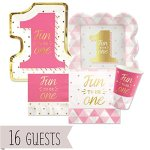 Fun-to-be-One-1st-Birthday-Girl-with-Gold-Foil-Party-Tableware-Plates-Cups-Napkins-Bundle-for-16-0