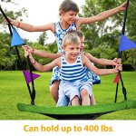 Giant-40-Saucer-Tree-Swing-in-Elite-Green-400-lb-Weight-Capacity-Durable-Steel-Frame-Waterproof-Adjustable-Ropes-Easy-to-Install-Bonus-Flag-Set-and-2-Carabiners-Non-Stop-Fun-for-Kids-0-0